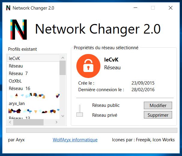 Capture de la fenêtre de Network Changer 2.0