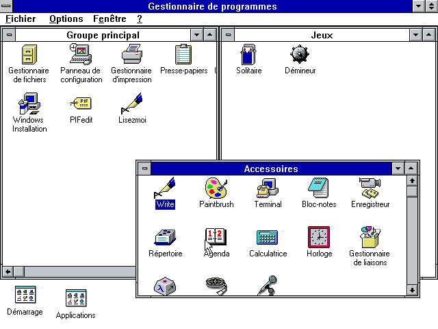 Le gestionnaire de programmes sur Windows 3.1