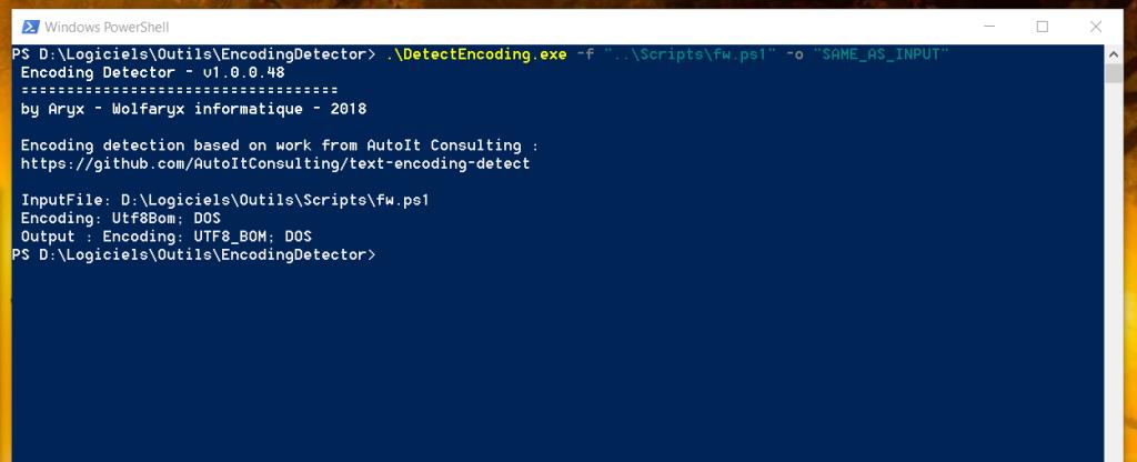 Capture d'écran du texte affiché par Encoding Detector