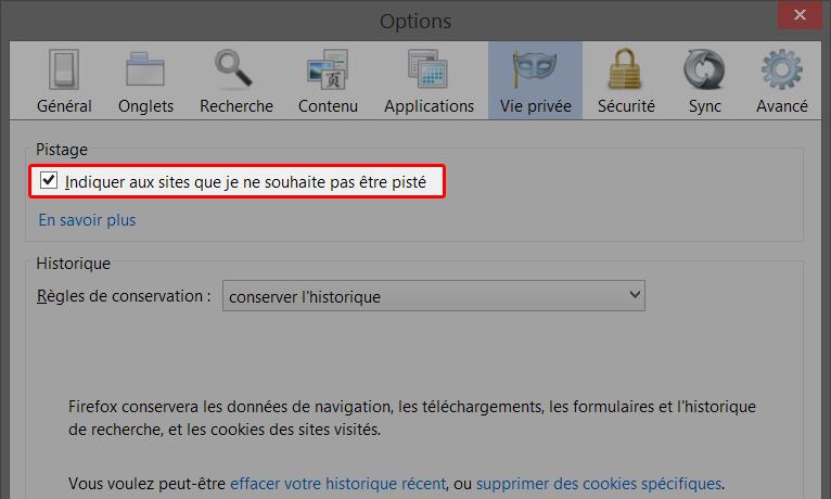 Indiquez aux sites que vous ne souhaitez pas être suivi avec Firefox