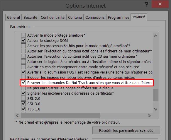 Indiquez aux sites que vous ne souhaitez pas être suivi avec Internet Explorer