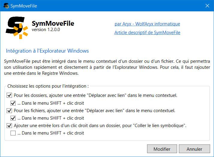 Fenêtre pour configurer l'intégration dans l'Explorateur Windows
