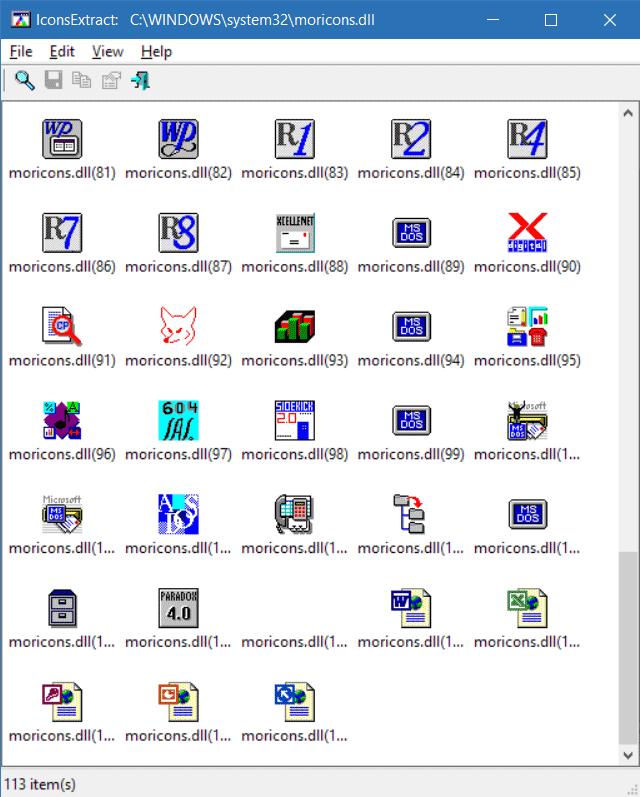 Les icônes de 81 à 113 du fichier moricons.dll