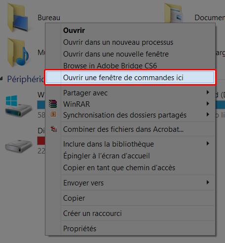 Ouvrir l'invite de commandes en maintenant la touche SHIFT et un clic droit