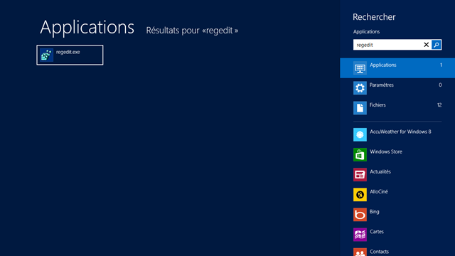 L'application regedit apparait sous Windows 8 en écrivant son nom à l'écran d'accueuil