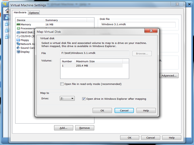 """Map Virtual Disk"" de VMware Player"