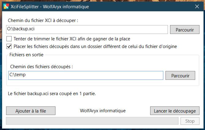 XciFileSpliter - Dossier en sortie différent de celui du fichier d'origine
