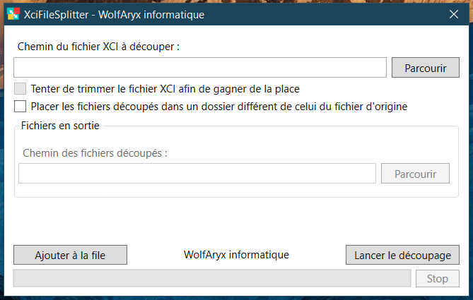XciFileSplitter - fenêtre principale