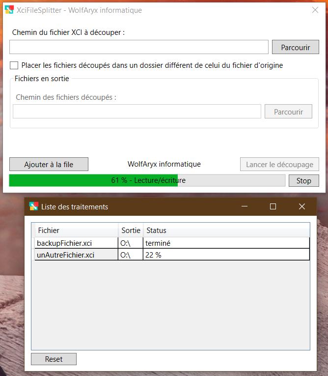 XciFileSplitter - Traitement en cours